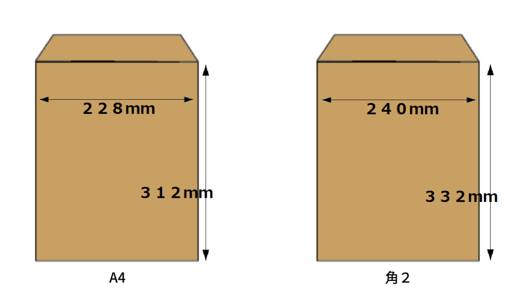 A4・角2 封筒サイズ比較